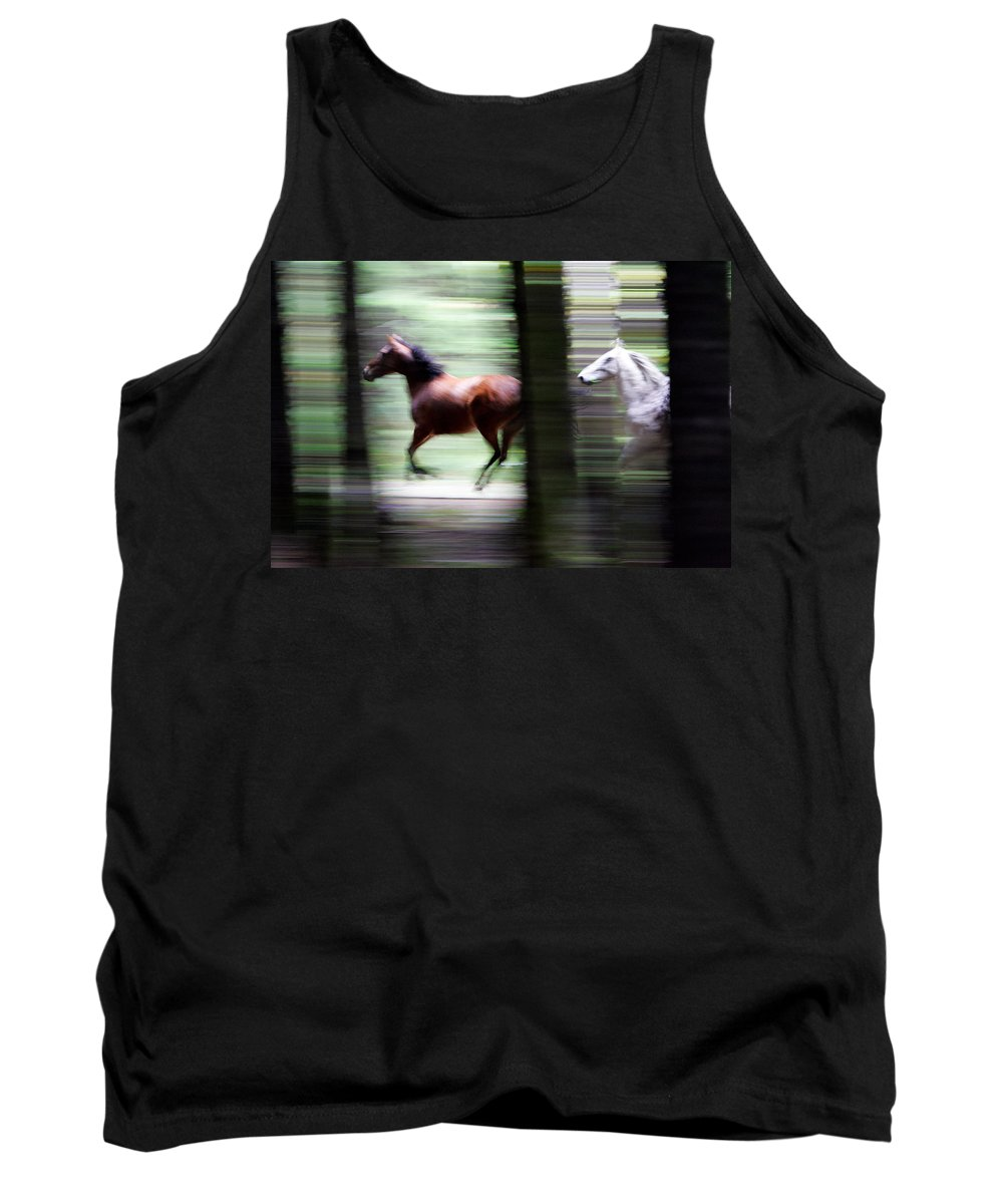 Mustang Tank Top featuring the photograph Forest Run by Randall Ingalls