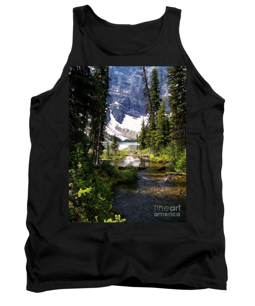 Crystal Clear Creek Tank Top featuring the photograph Forest View To Mountain Lake by Greg Hammond
