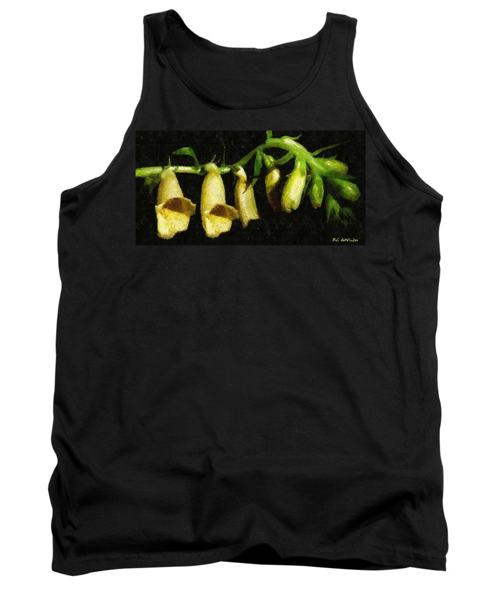 Flowers Tank Top featuring the painting Foxglove On Wood Panel by RC DeWinter