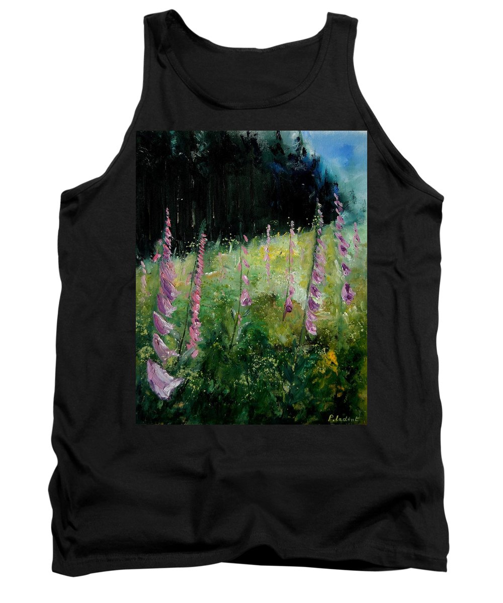 Flowers Tank Top featuring the painting Foxgloves by Pol Ledent
