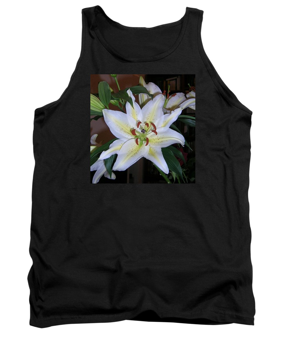 Flower Tank Top featuring the photograph Fragrant White Lily by Valerie Ornstein
