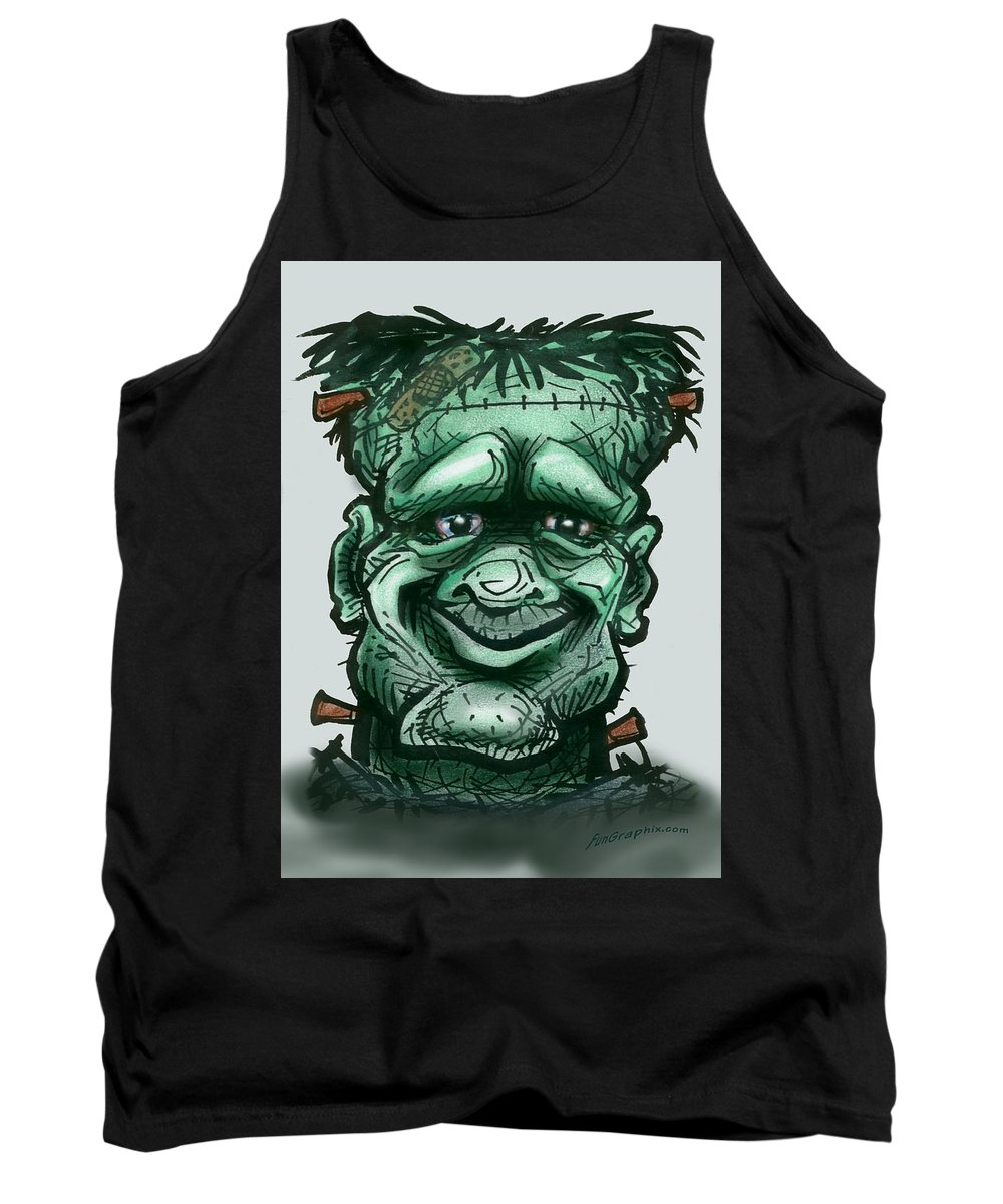 Frankenstein Tank Top featuring the greeting card Frankenstein by Kevin Middleton