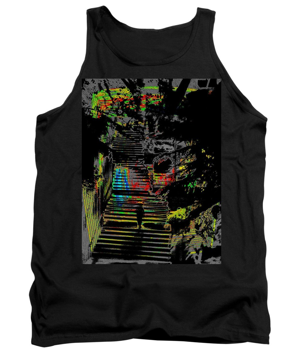 Seattle Tank Top featuring the digital art Freeway Park Steps by Tim Allen