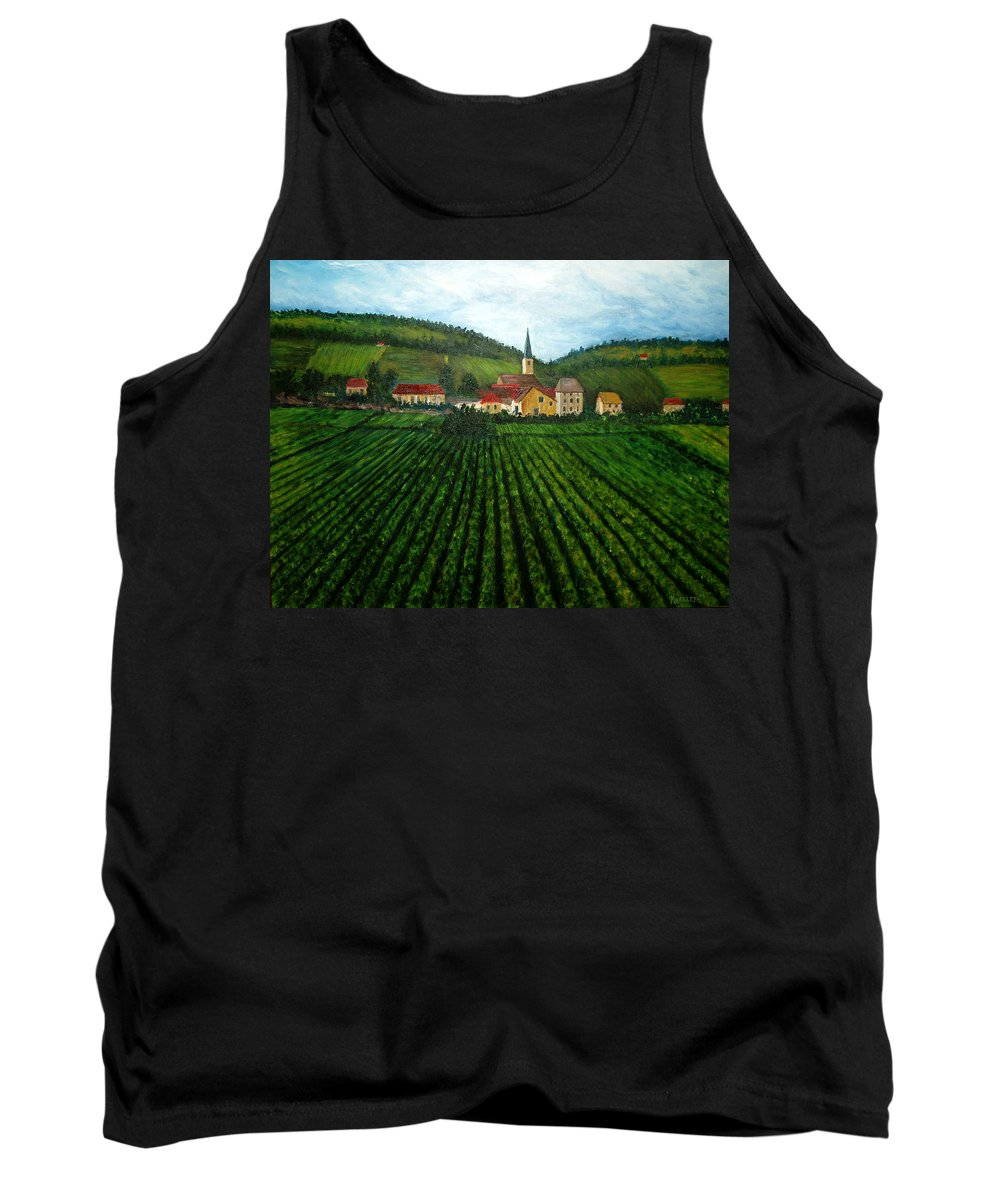 Acrylic Tank Top featuring the painting French Village In The Vineyards by Nancy Mueller