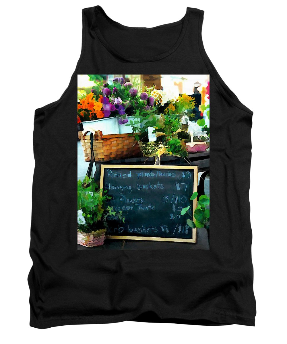 Market Tank Top featuring the painting Fresh At The Farmer's Market by Elaine Plesser