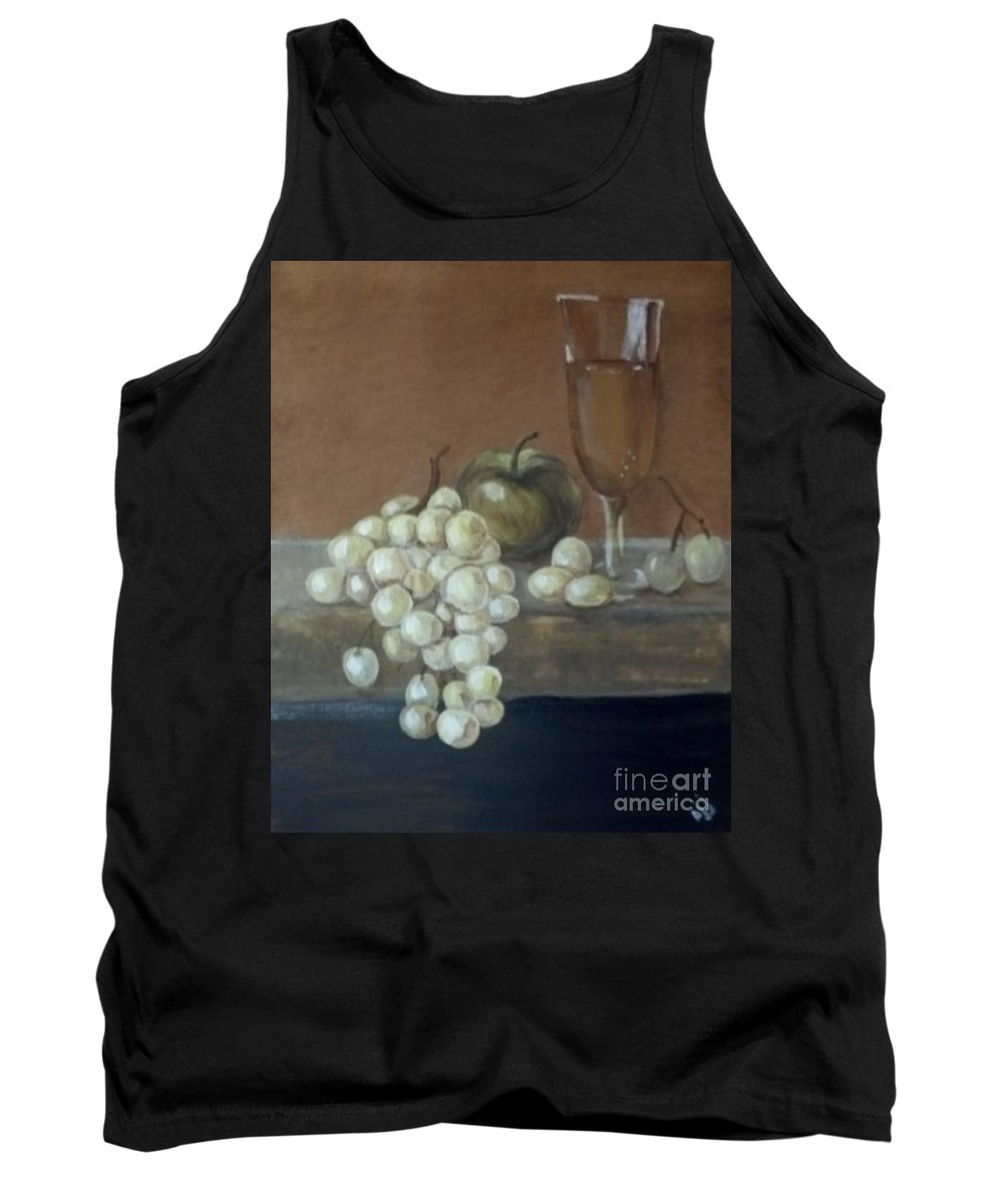 Grapes Tank Top featuring the painting Fruit And Wine by Saundra Johnson