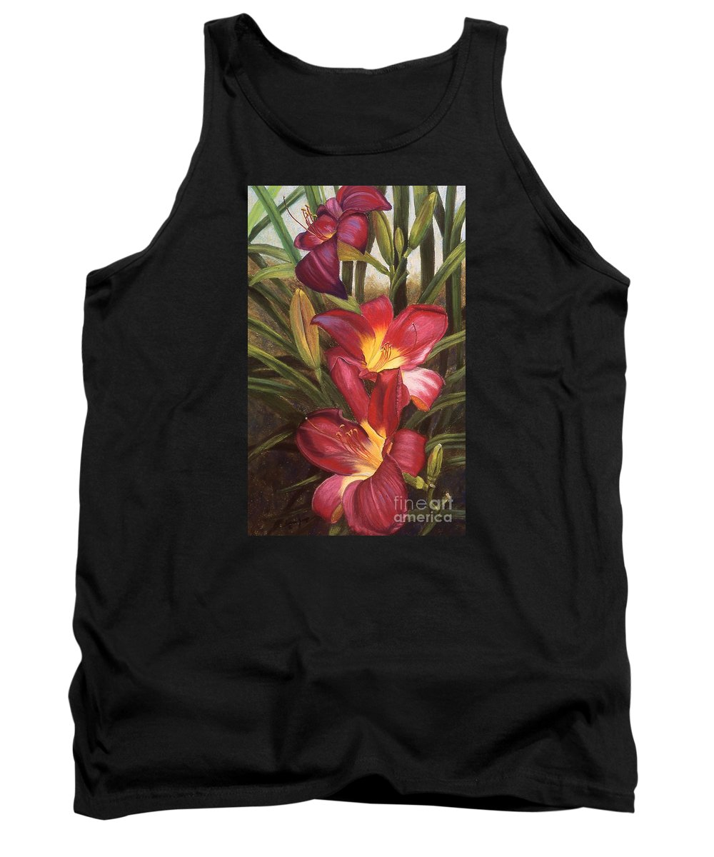 Flowers Tank Top featuring the pastel Fuchsia Daylilys by Susan Jump