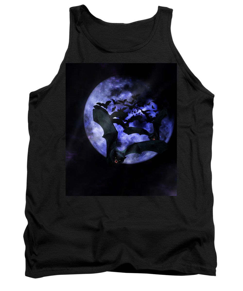 Halloween Tank Top featuring the mixed media Full Moon Bats by Gravityx9 Designs