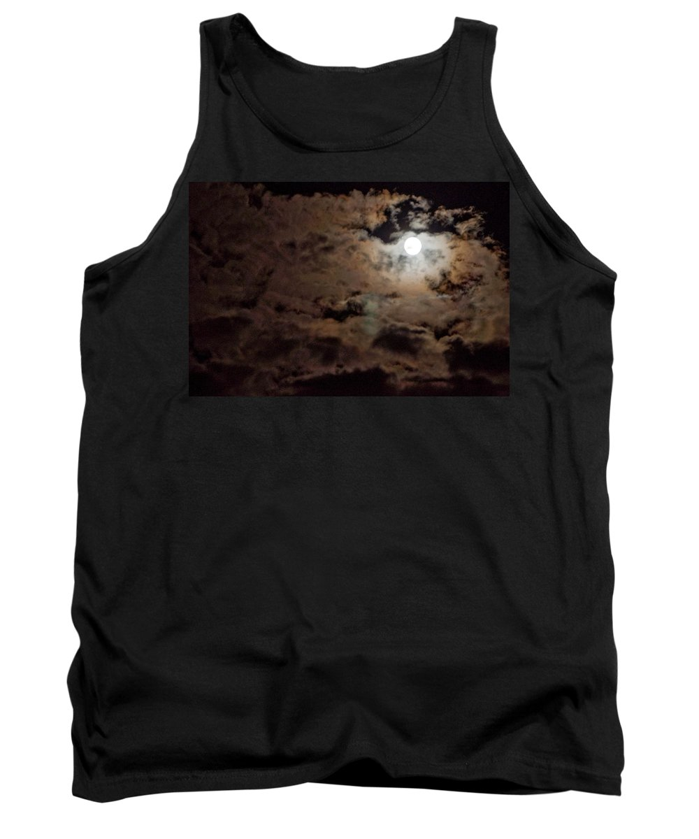 Moon Tank Top featuring the photograph Full Moon Cloudy Night by Steven Natanson