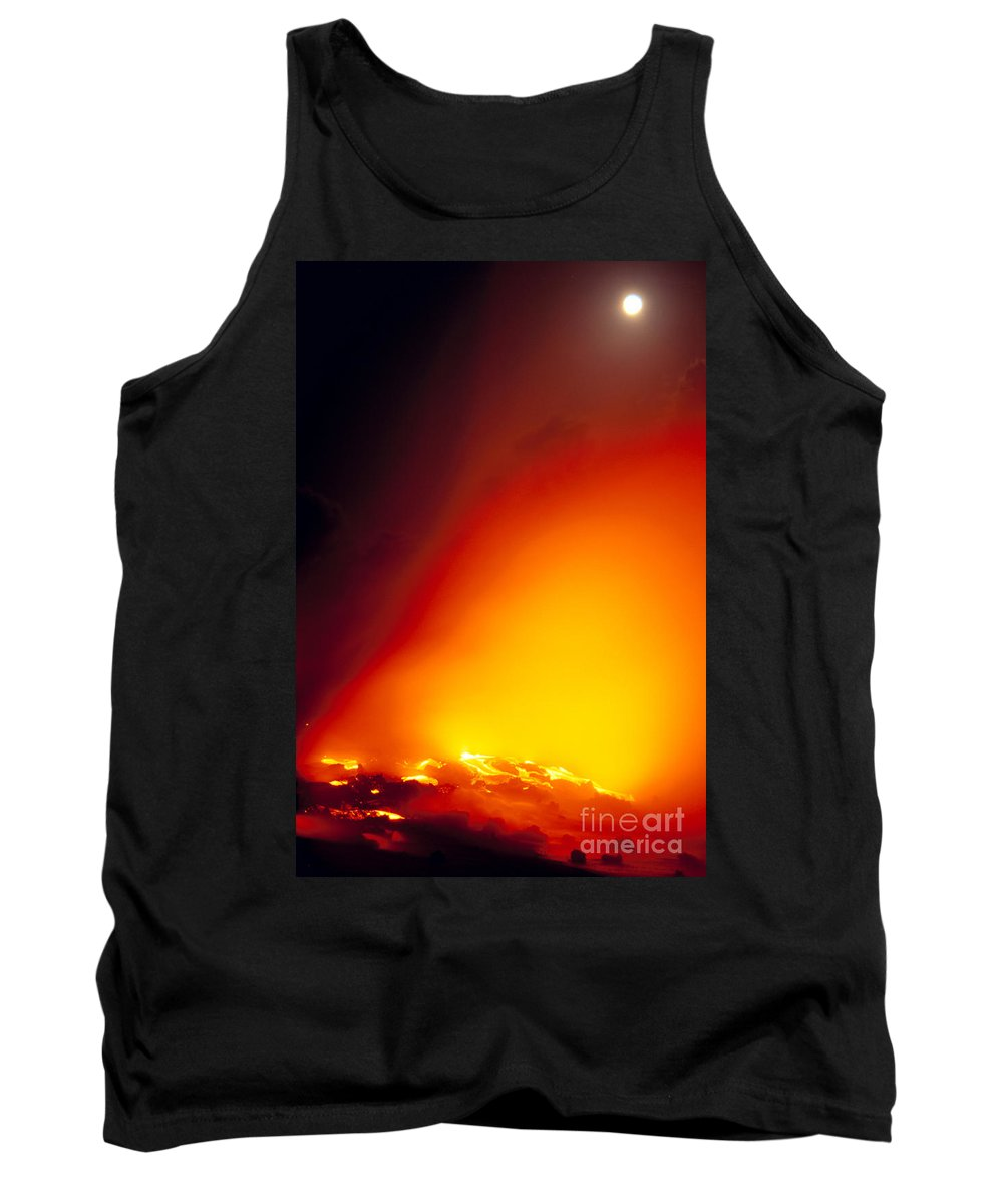 A'a Tank Top featuring the photograph Full Moon Over Lava by Peter French - Printscapes