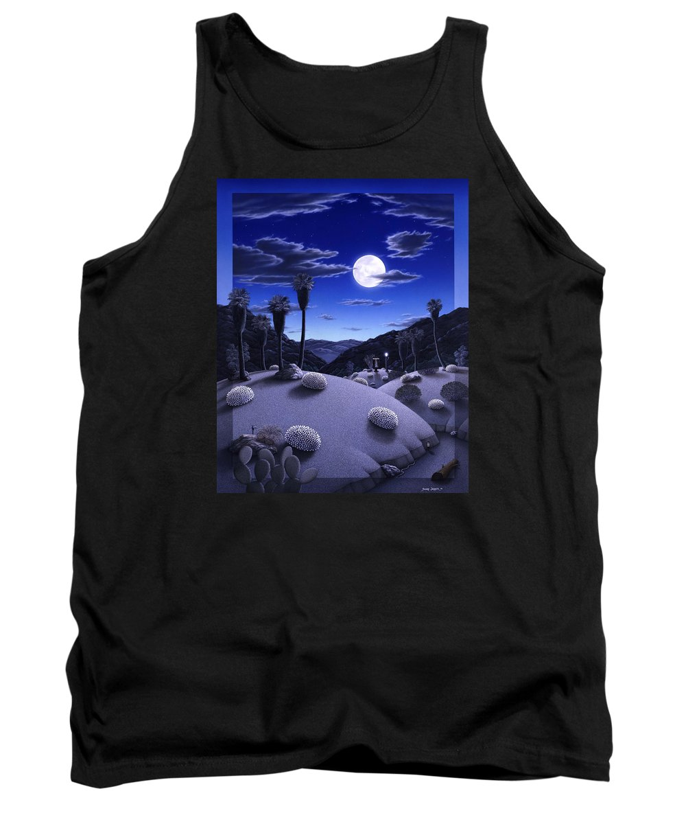 Desert Tank Top featuring the painting Full Moon Rising by Snake Jagger