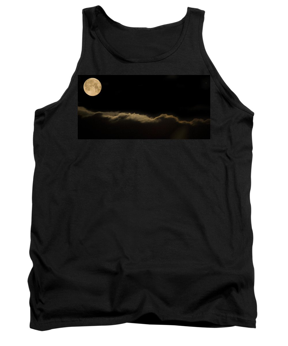 Full Tank Top featuring the photograph Full Moon Setting Over Clouds by Ian Middleton