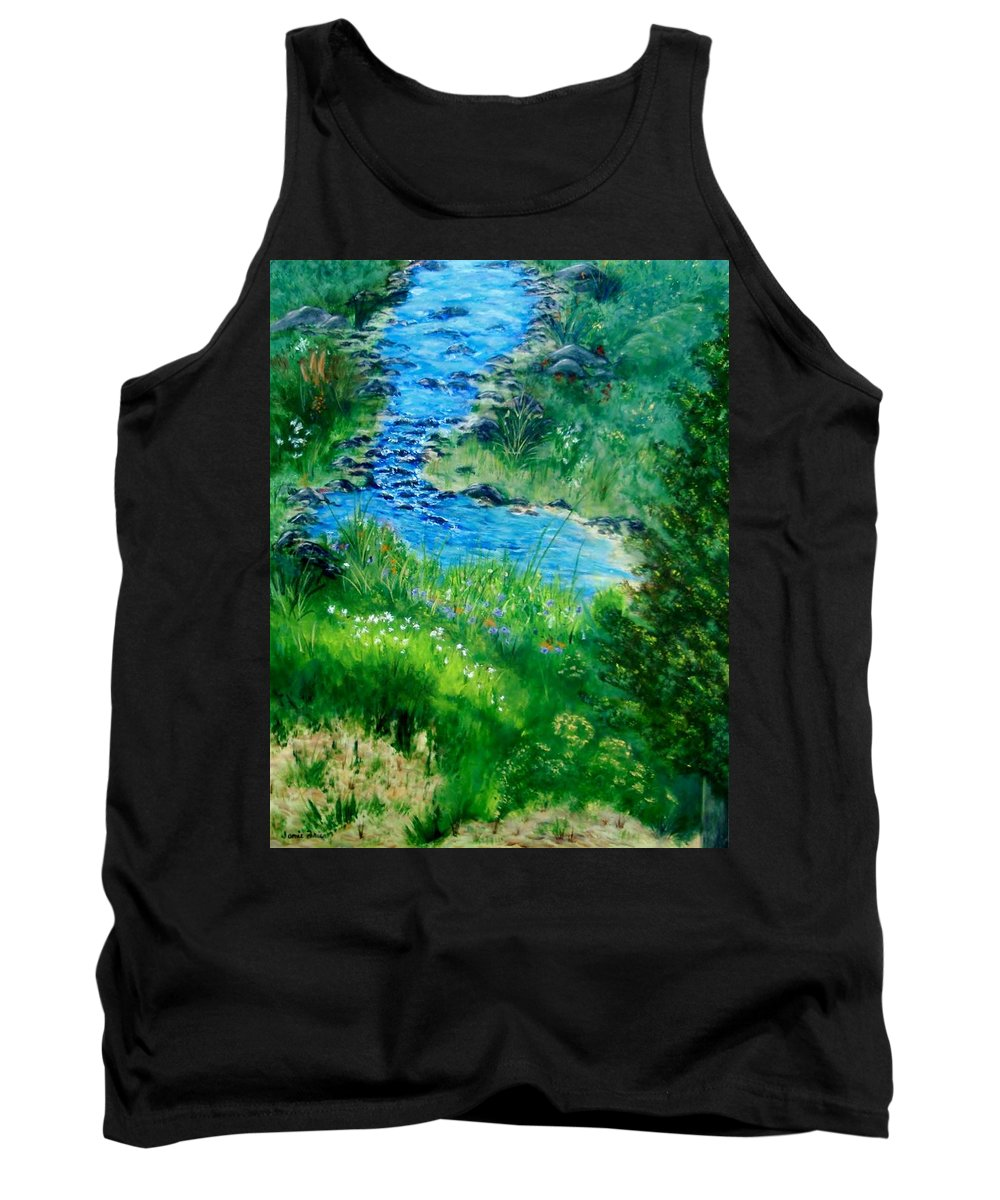 Stream Tank Top featuring the painting Garden Stream by Jamie Frier