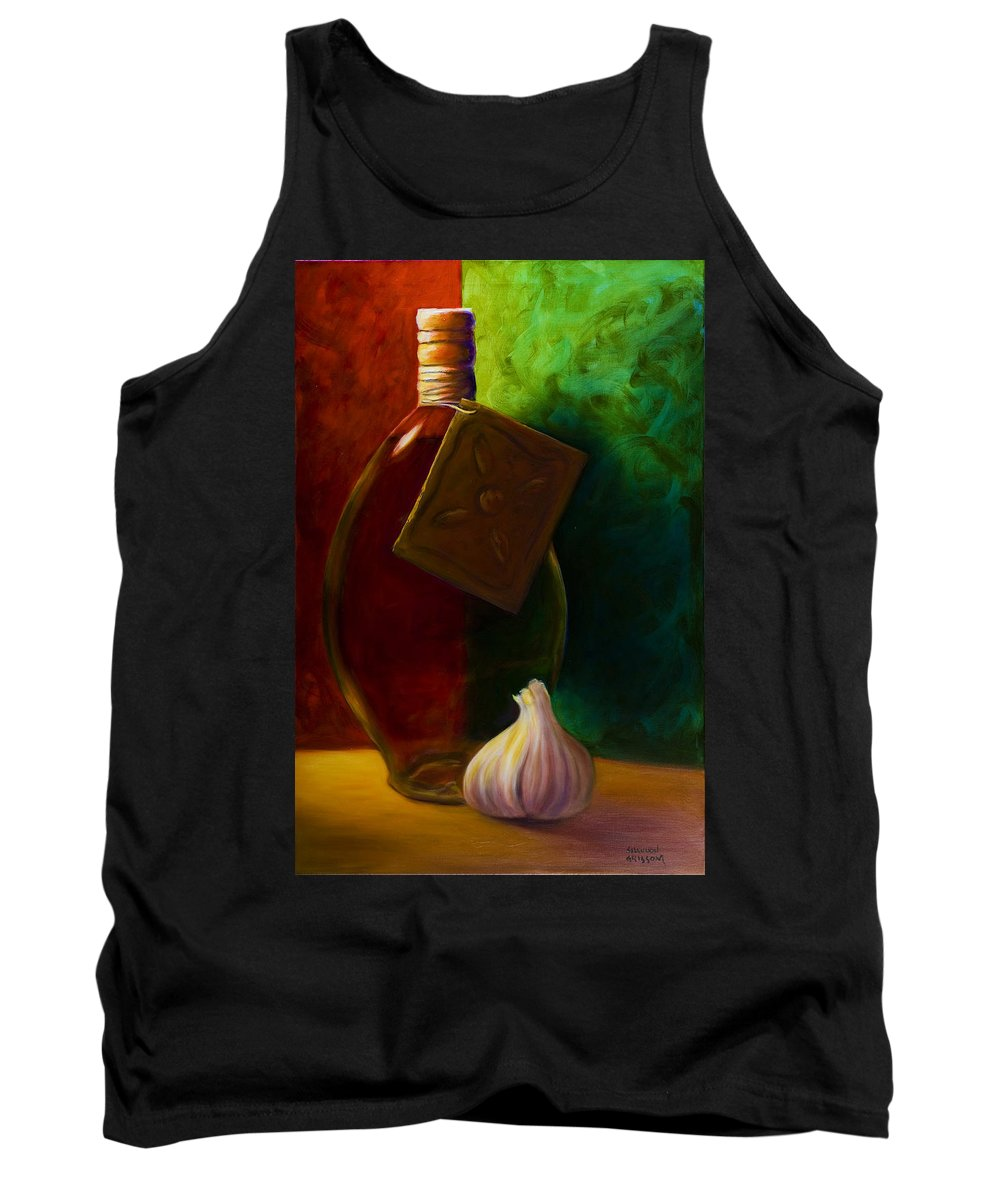 Shannon Grissom Tank Top featuring the painting Garlic And Oil by Shannon Grissom