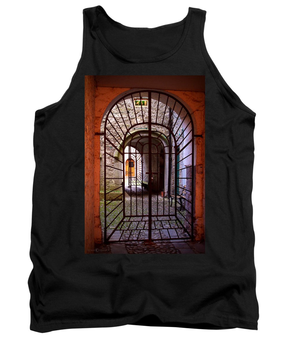 Gate Tank Top featuring the photograph Gated Passage by Tim Nyberg