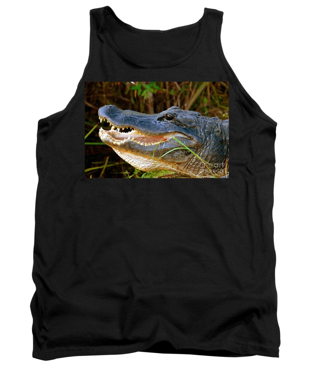 Alligator Tank Top featuring the photograph Gator Head by David Lee Thompson
