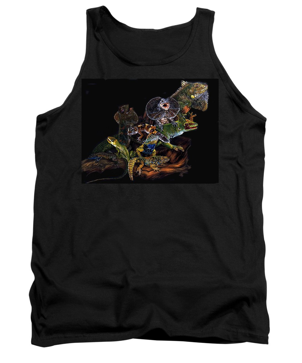 Lizards Tank Top featuring the drawing Gems And Jewels by Barbara Keith