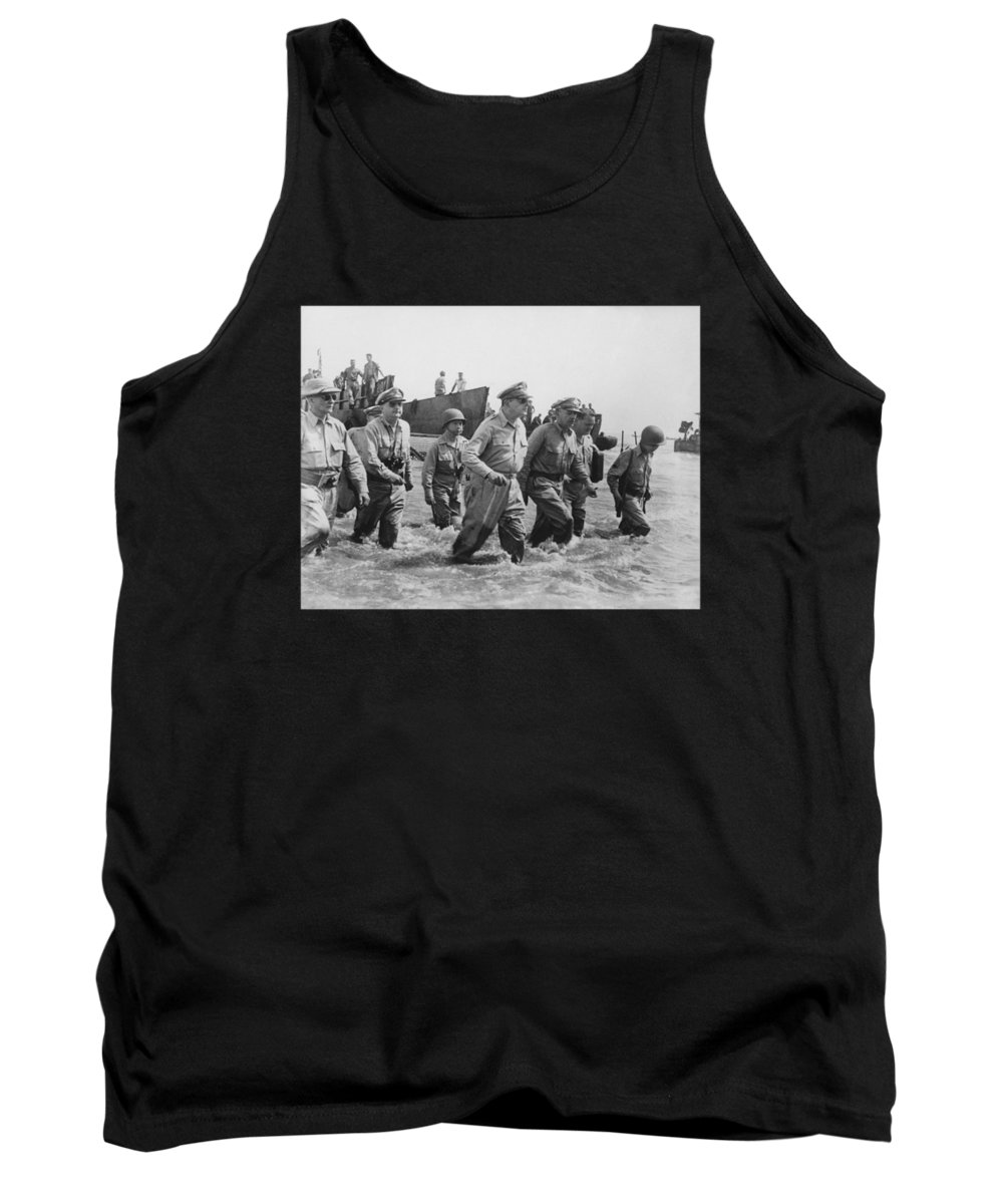 Douglas Macarthur Tank Top featuring the photograph General Douglas Macarthur Returns by War Is Hell Store