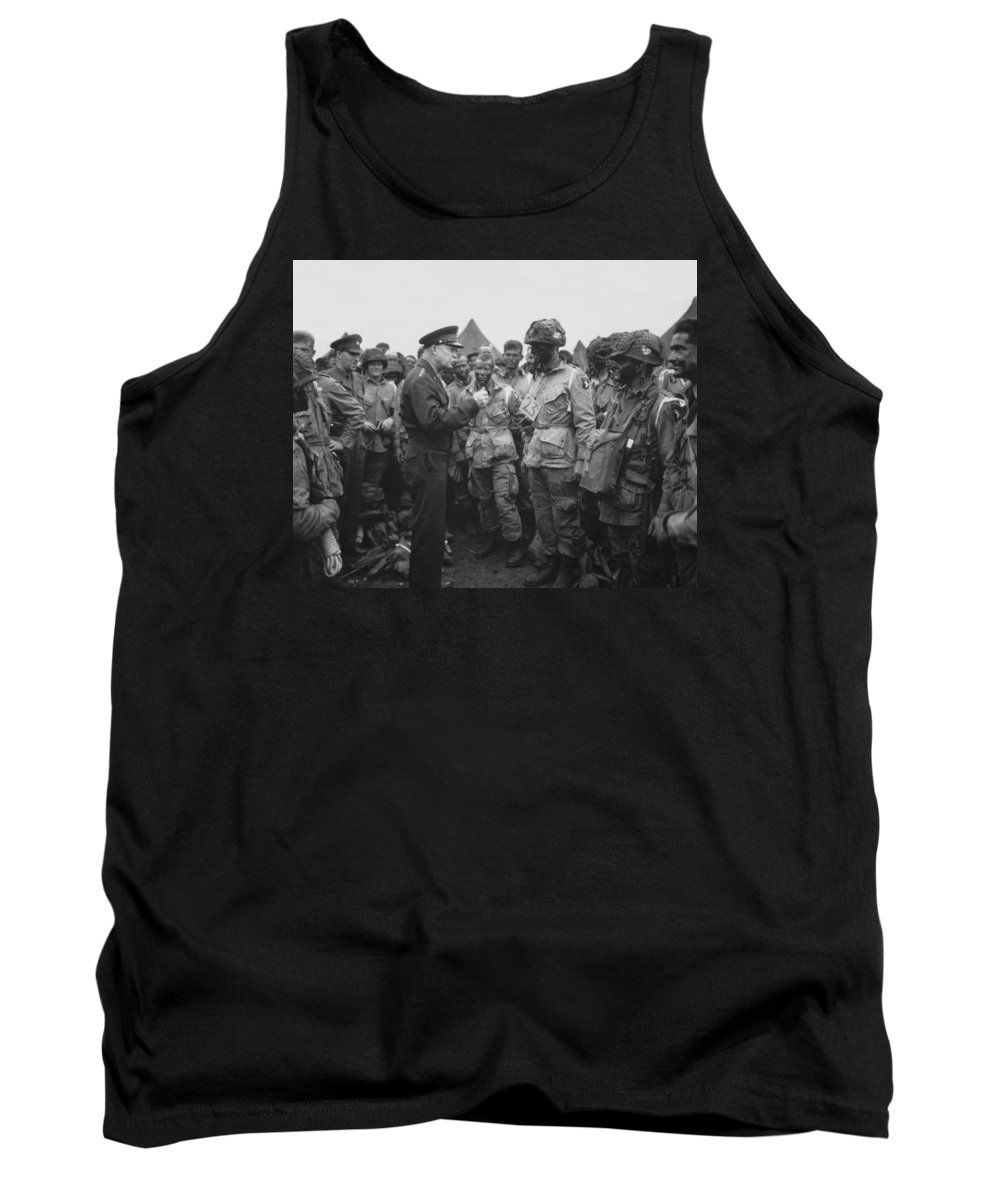 101st Airborne Division Tank Top featuring the photograph General Eisenhower On D-day by War Is Hell Store