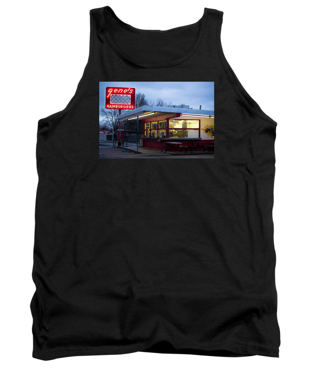 Gene's Tank Top featuring the photograph Gene's Drive In by Marnie Patchett