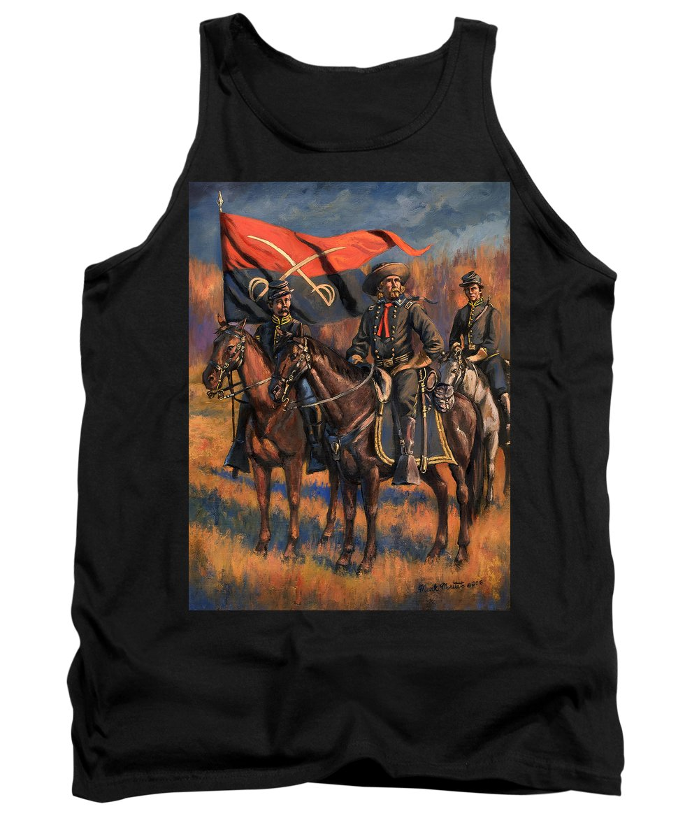 Civil War Tank Top featuring the painting George Armstrong Custer by Mark Maritato