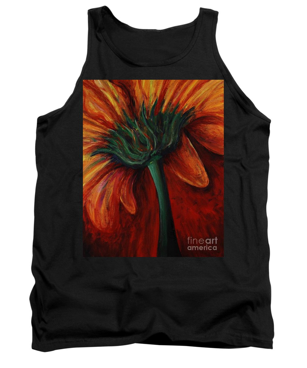 Gerbera Daisy.daisy Tank Top featuring the painting Gerbera Daisy by Nadine Rippelmeyer