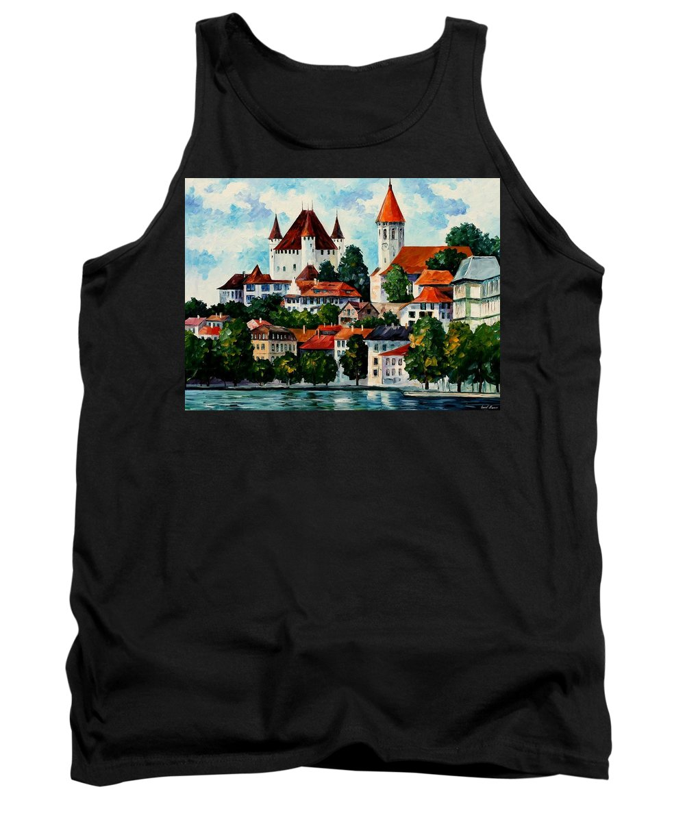 Afremov Tank Top featuring the painting Germany - Clouds Above The Rhine by Leonid Afremov