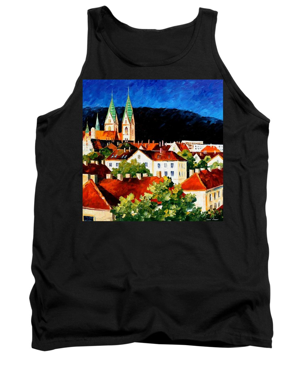 City Tank Top featuring the painting Germany - Freiburg by Leonid Afremov