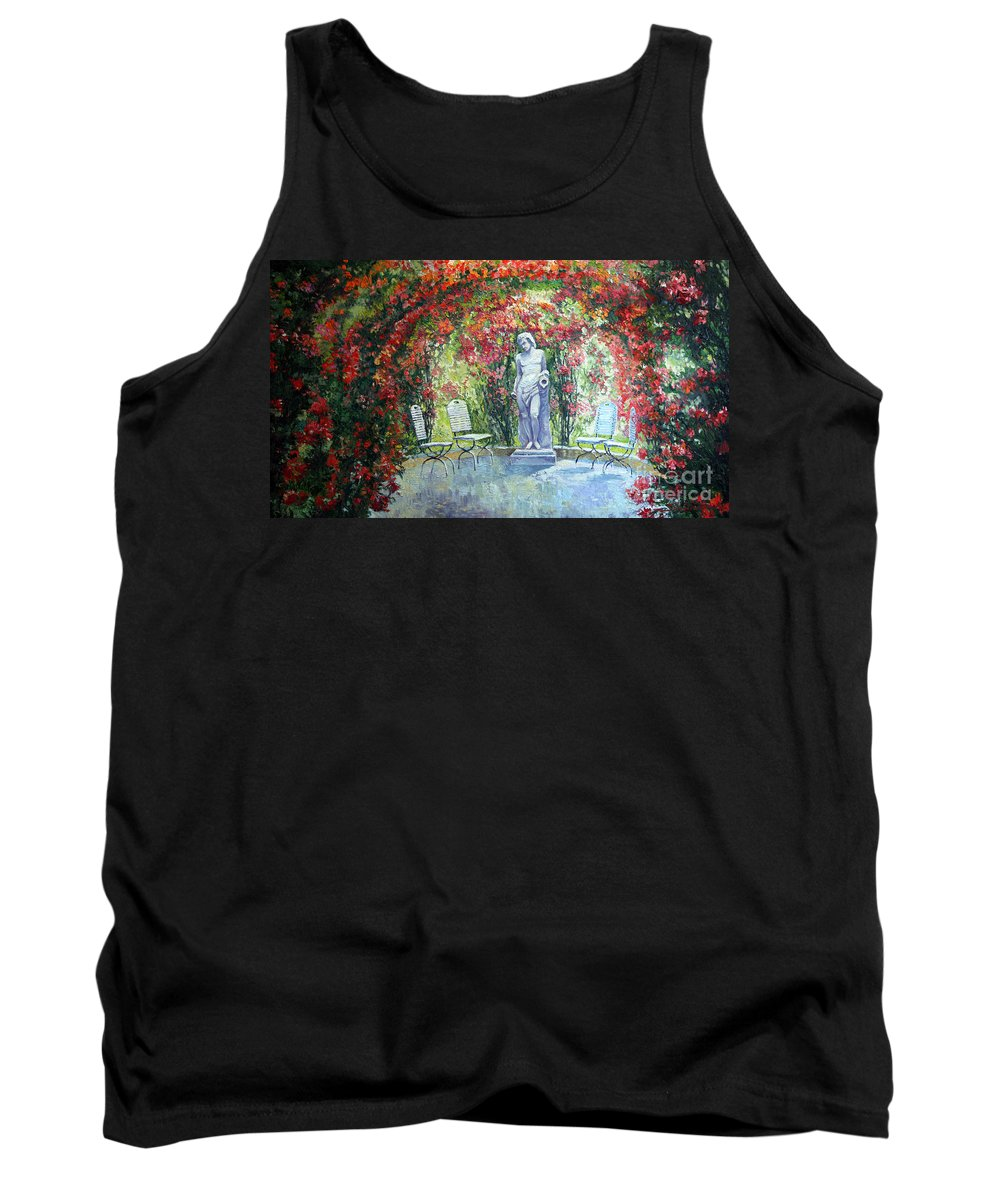 Oil Tank Top featuring the painting Germany Baden-baden Rosengarten 02 by Yuriy Shevchuk