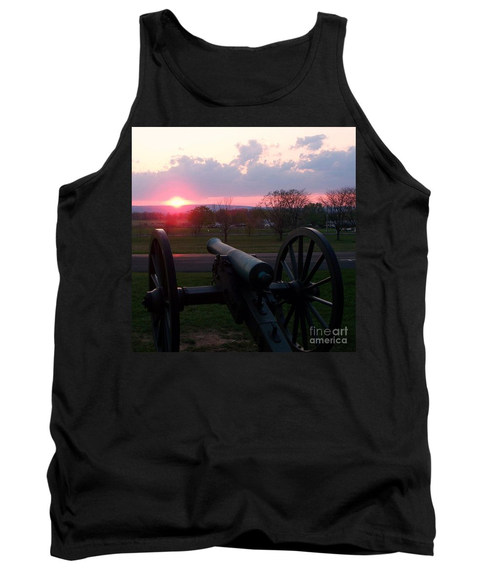 Gettysburg Cannon Tank Top featuring the painting Gettysburg Cannon by Eric Schiabor