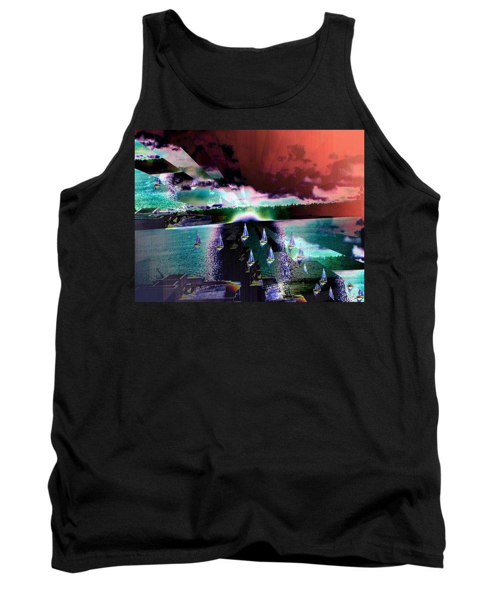 Seattle Tank Top featuring the digital art Ghost Regatta by Tim Allen
