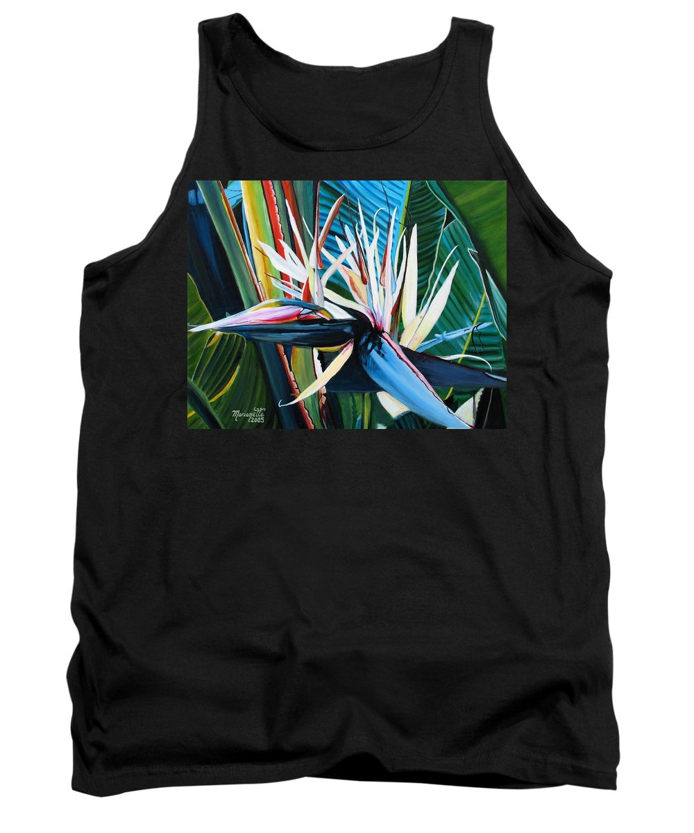Bird Tank Top featuring the painting Giant Bird Of Paradise by Marionette Taboniar