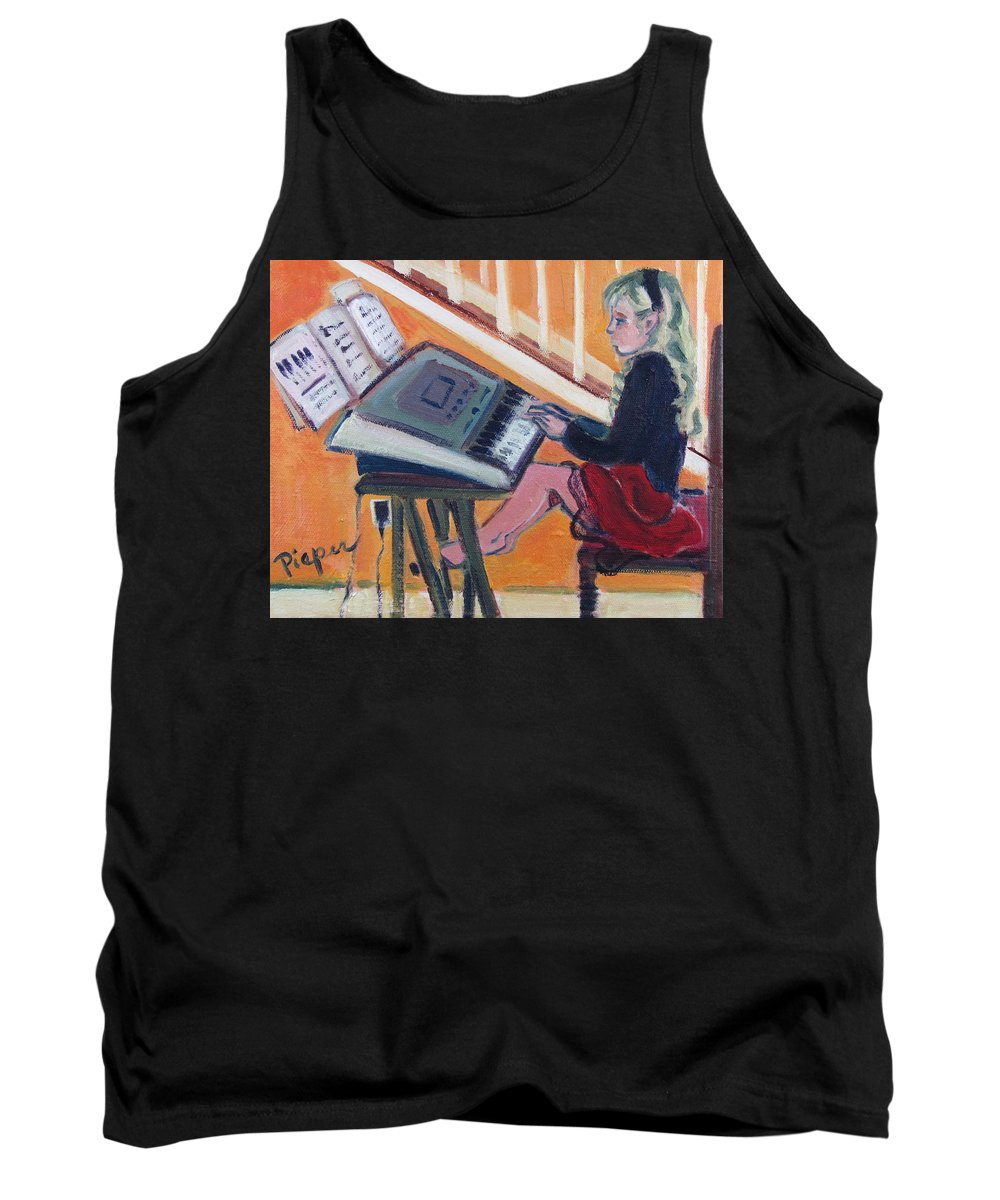 Girl With Piano Tank Top featuring the painting Girl At Keyboard by Betty Pieper