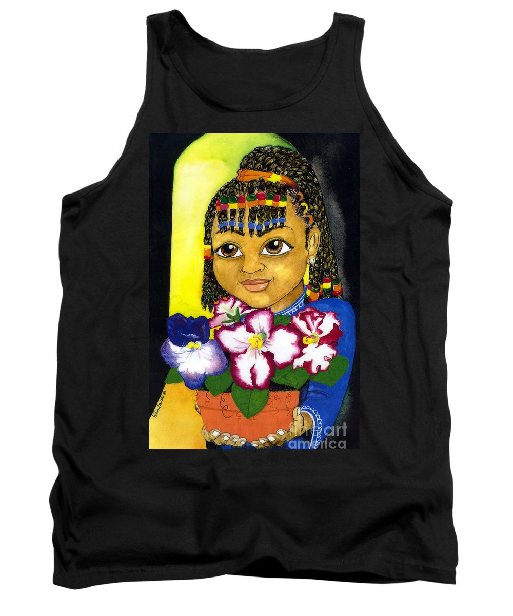 Girl Tank Top featuring the painting Girl With African Violet by David Willis