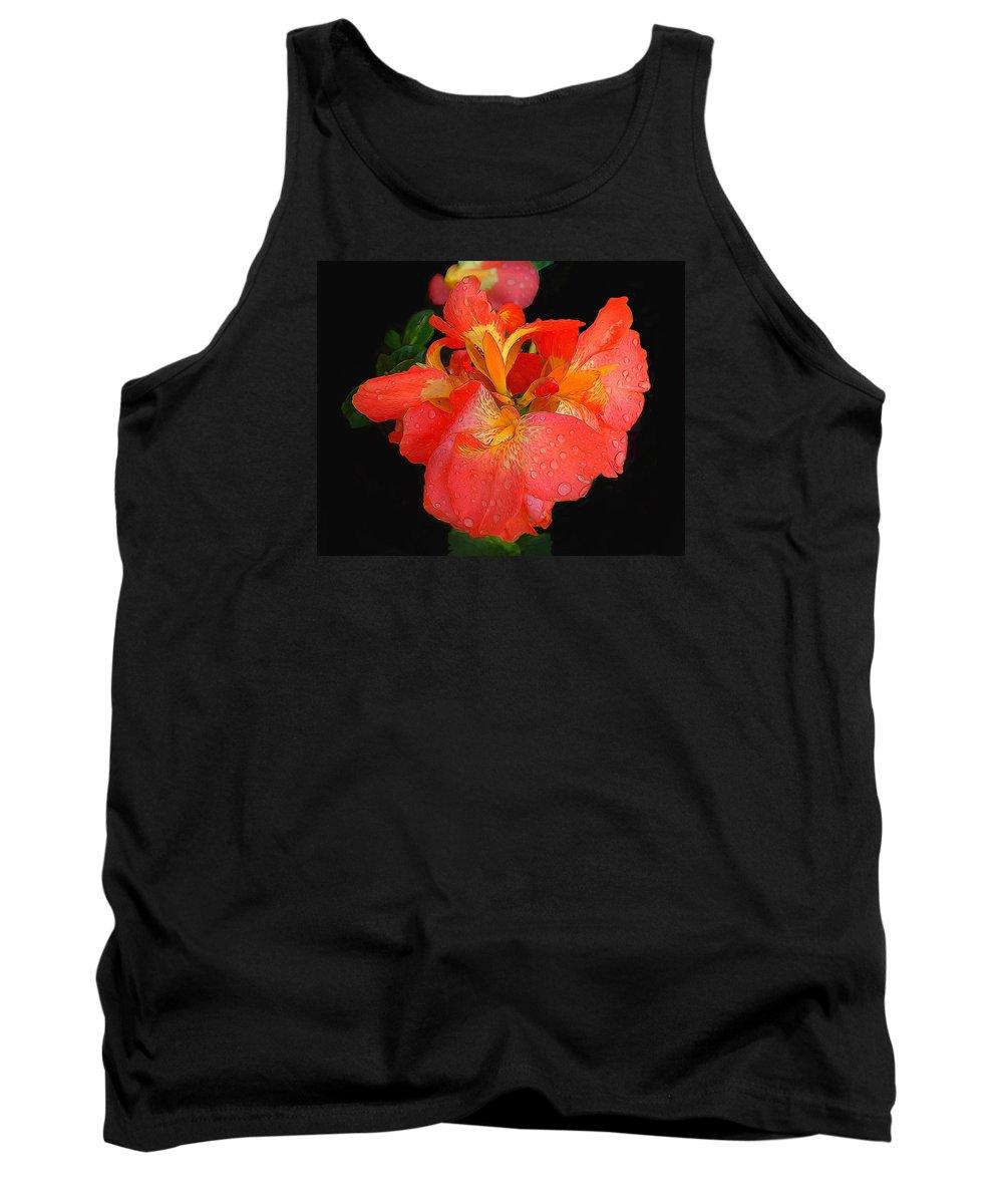 Gladiolus Digital Art Tank Top featuring the photograph Gladiolus Bloom - Digital Art by TN Fairey
