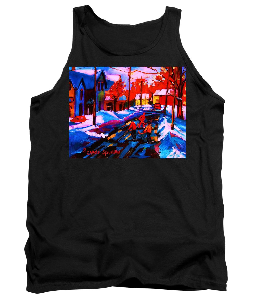 Streethockey Tank Top featuring the painting Glorious Day For A Game by Carole Spandau