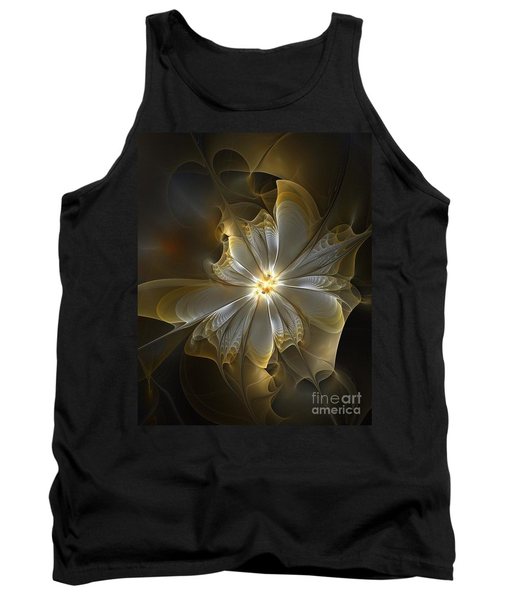 Digital Art Tank Top featuring the digital art Glowing in Silver and Gold by Amanda Moore