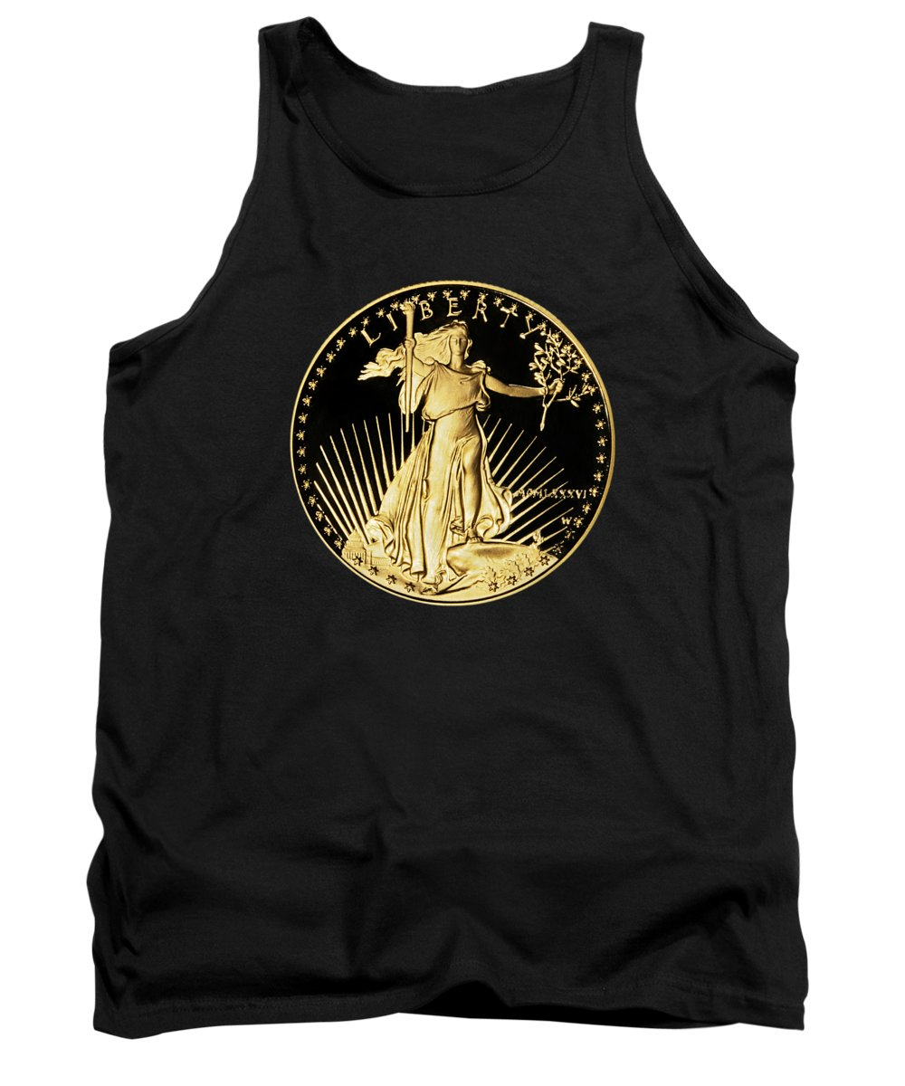 Coin Tank Top featuring the photograph Gold Coin Front by Phyllis Denton
