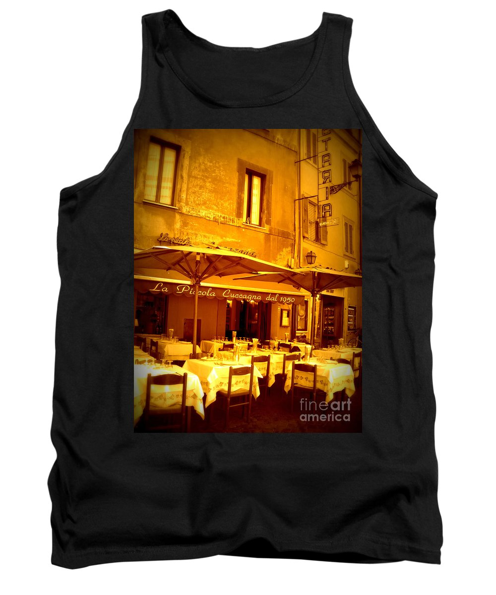 Italy Tank Top featuring the photograph Golden Italian Cafe by Carol Groenen