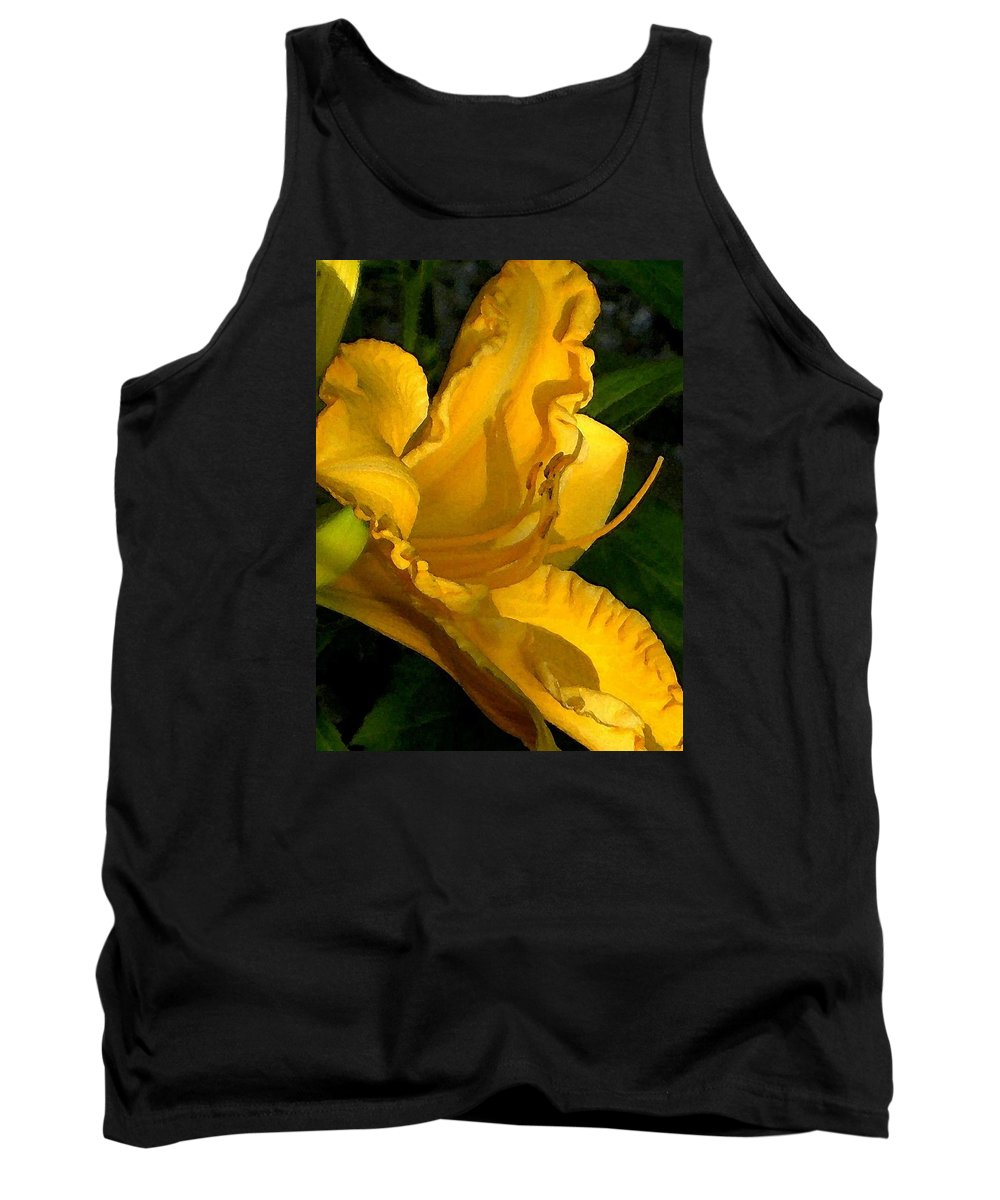 Gold Tank Top featuring the photograph Golden Lily Watercolor by Carolyn Jacob