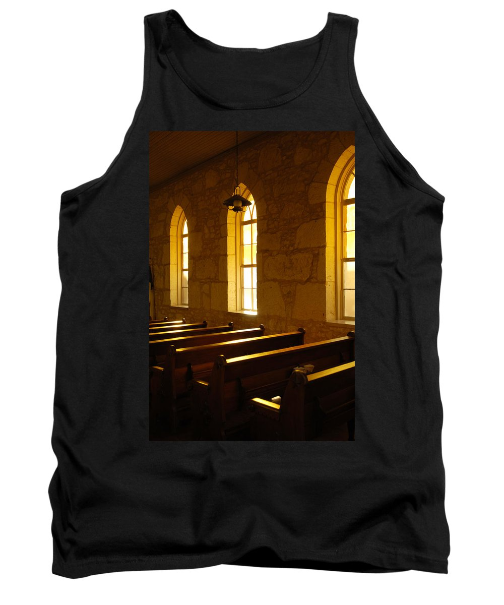 Worship Tank Top featuring the photograph Golden Pews by Jill Reger