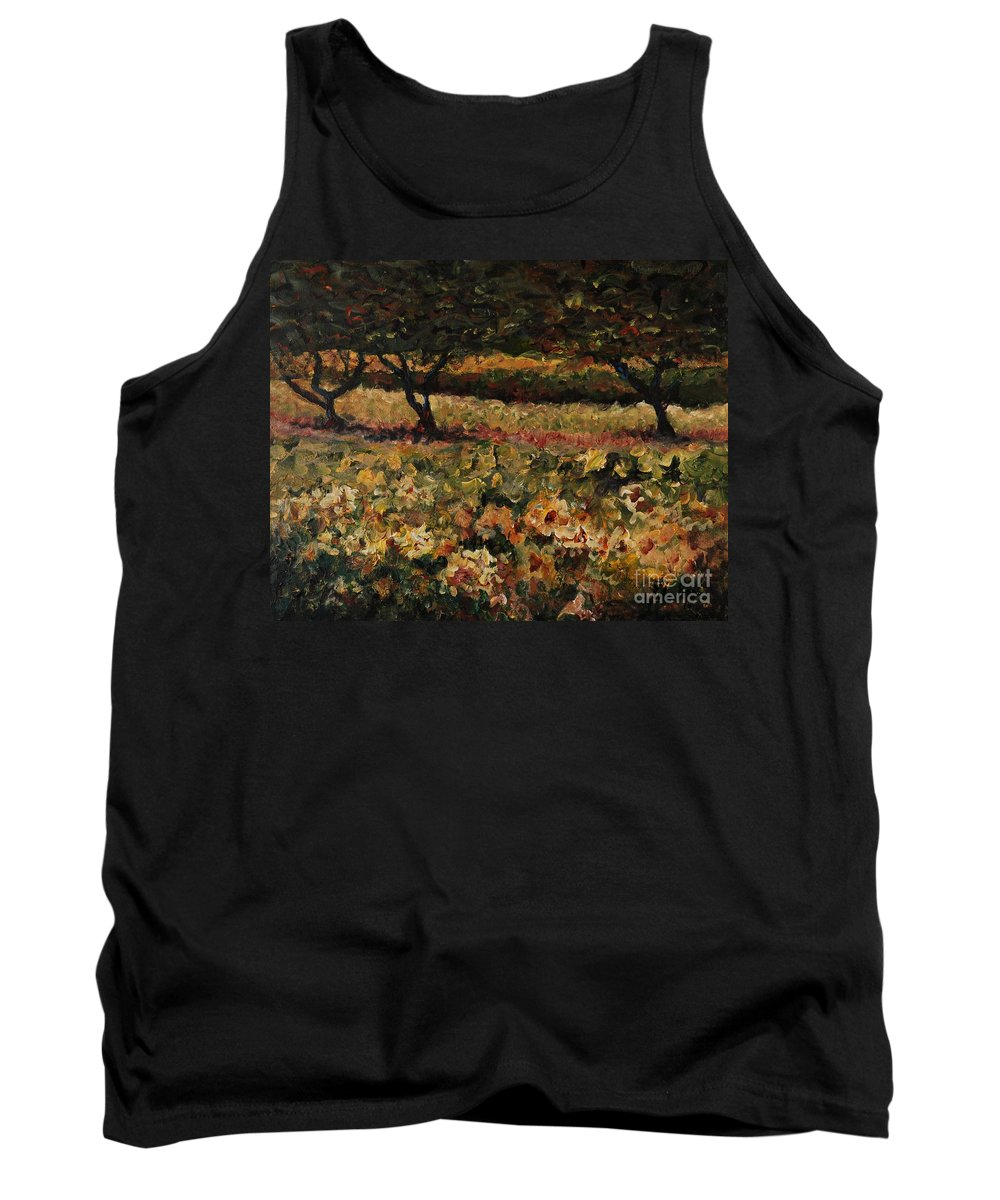 Landscape Tank Top featuring the painting Golden Sunflowers by Nadine Rippelmeyer