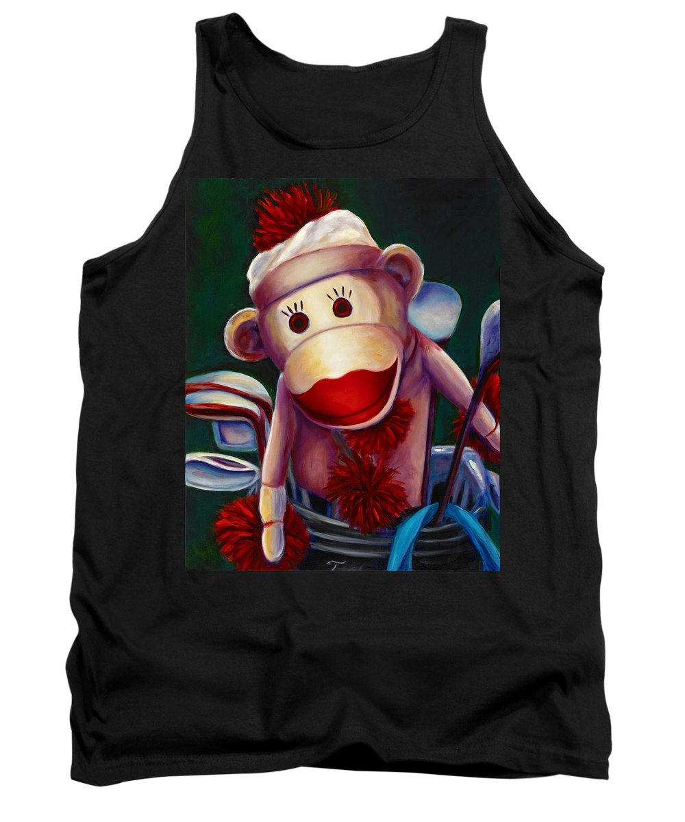 Monkey Tank Top featuring the painting Golfer Made of Sockies by Shannon Grissom