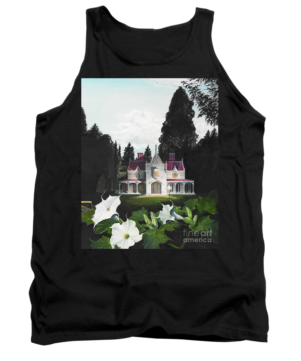 Fantasy Tank Top featuring the painting Gothic Country House Detail From Night Bridge by Melissa A Benson