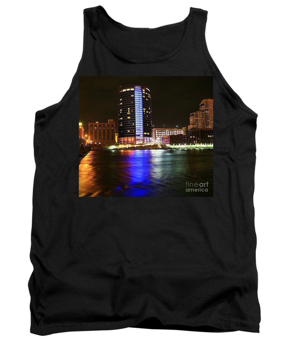Grand Rapids Mi City Scapes Tank Top featuring the photograph Grand Rapids Mi Under The Lights-6 by Robert Pearson