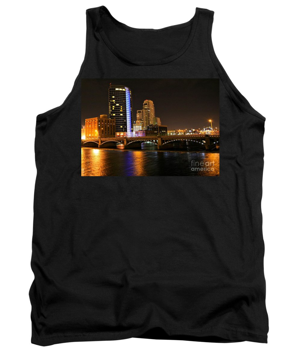 Tags:  West Michigan Photographs Tank Top featuring the photograph Grand Rapids Mi Under The Lights by Robert Pearson