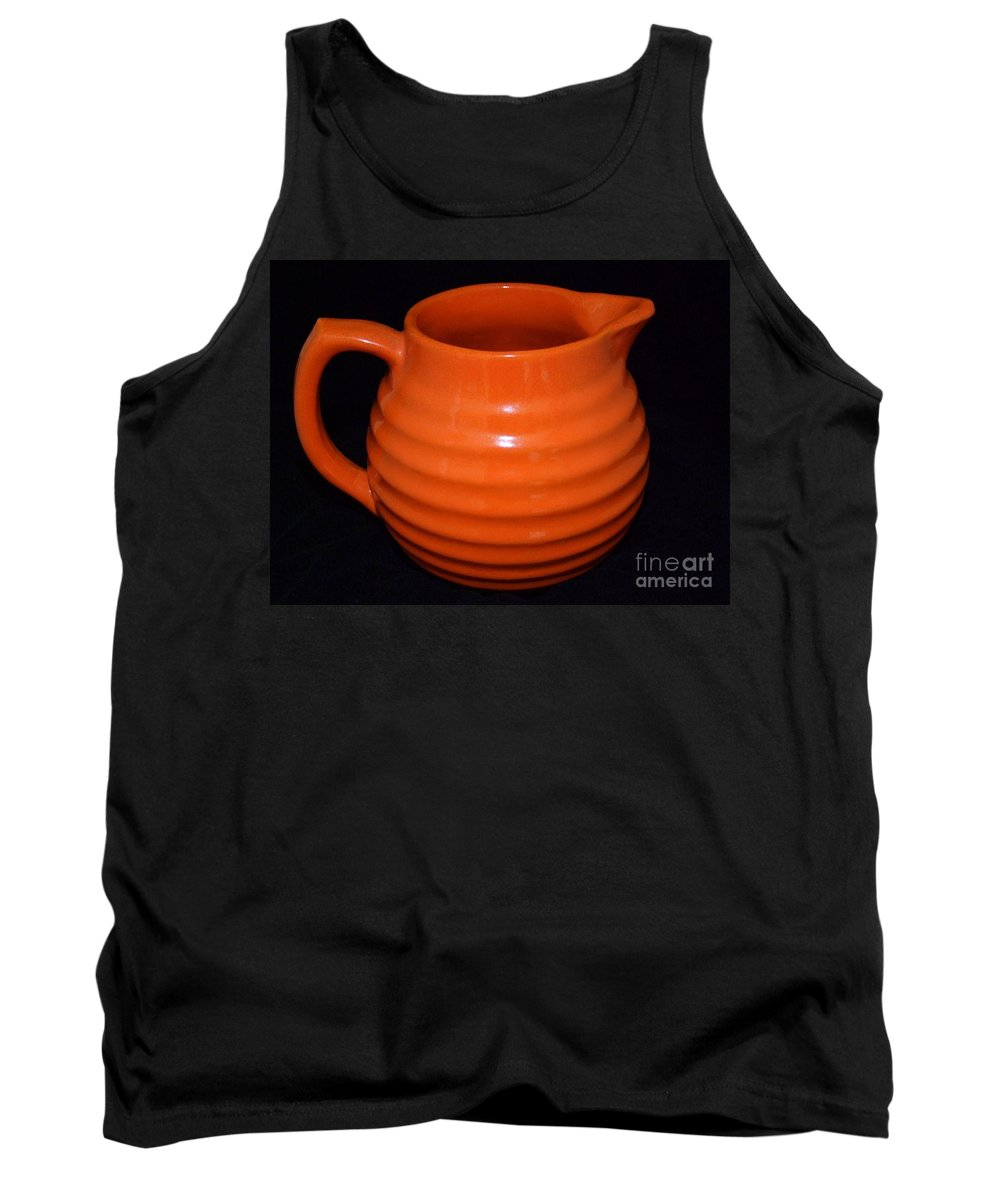 Mary Deal Tank Top featuring the photograph Grandmas Orange Juice Pitcher by Mary Deal