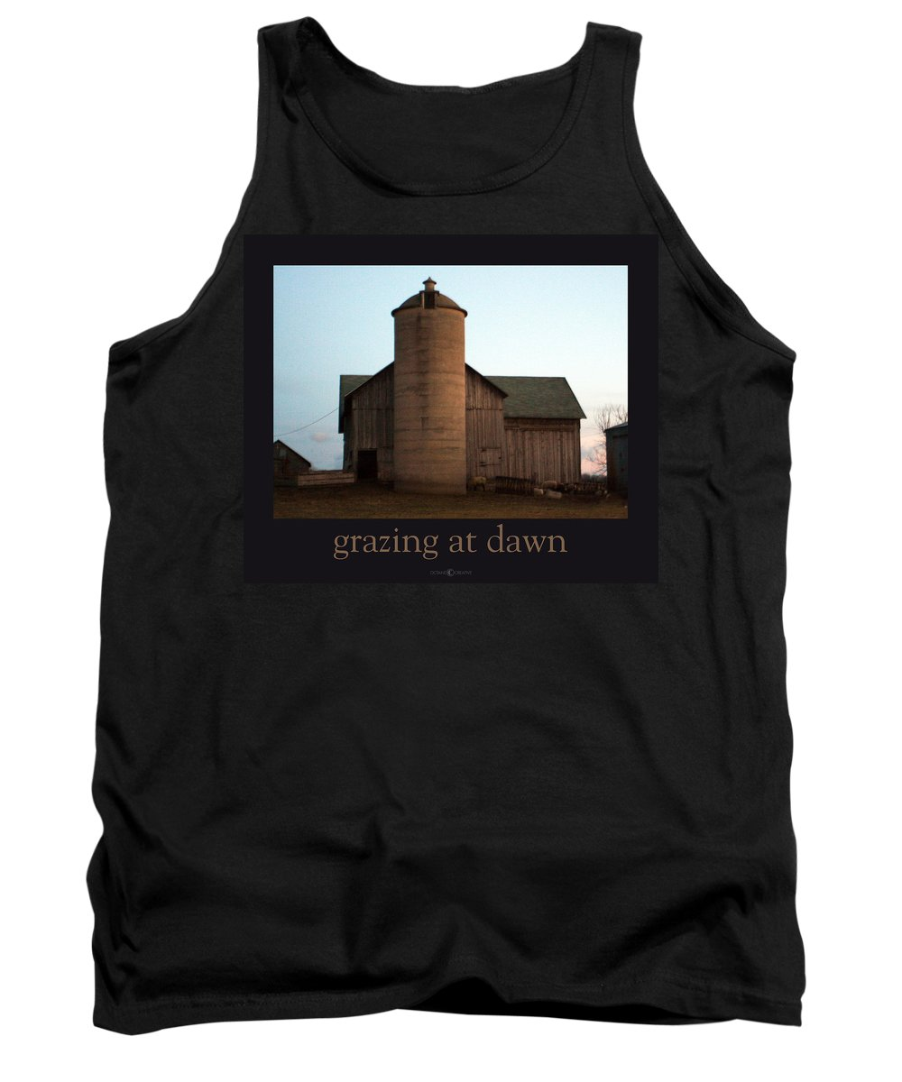 Barn Tank Top featuring the photograph Grazing At Dawn by Tim Nyberg