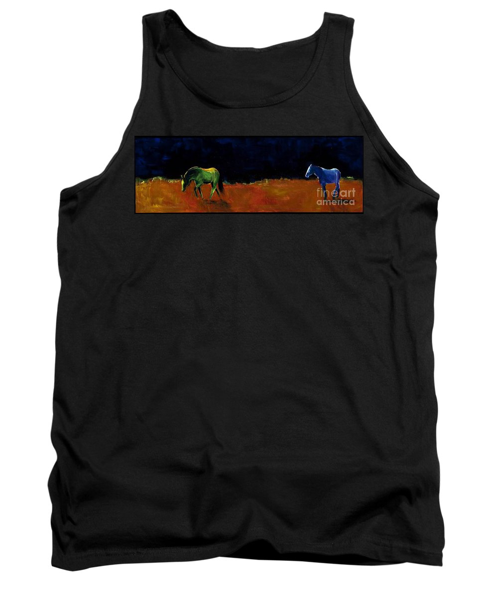 Abstract Horses Tank Top featuring the painting Grazing In The Moonlight by Frances Marino