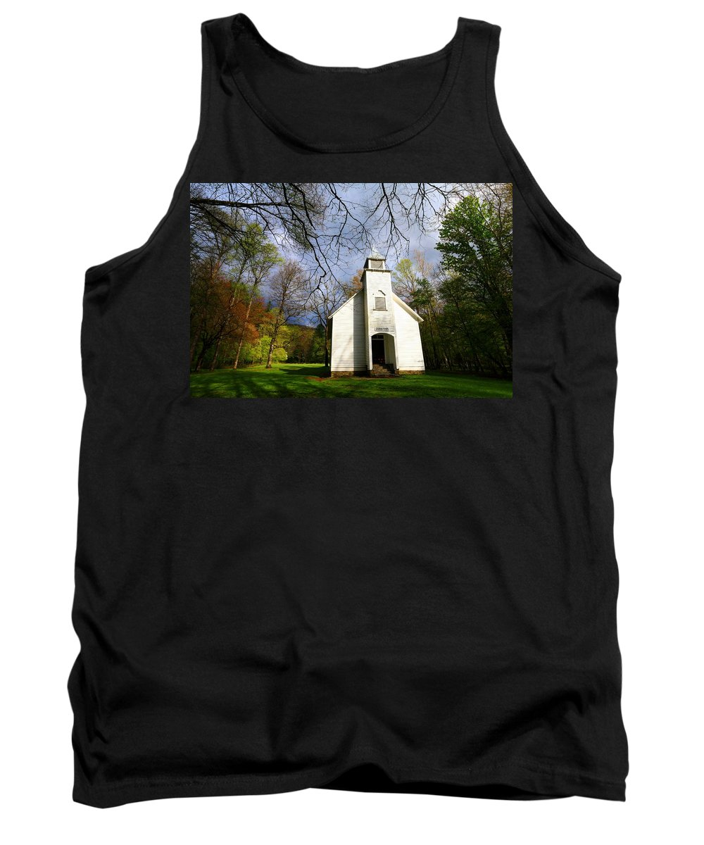 Spring Tank Top featuring the photograph Great Smoky Mountains Spring Storms Over Palmer Chapel by Carol Montoya